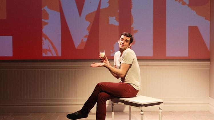 "This theater image released by Richard Kornberg & Associates shows Michael Urie during a performance of ""Buyer & Cellar,"" in New York. (AP Photo/Richard Kornberg & Associates, Sandra Coudert)"