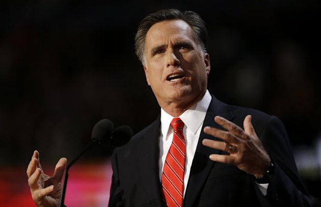Republican presidential nominee Mitt Romney addresses delegates before speaking at the Republican National Convention in Tampa, Fla., on Thursday, Aug. 30, 2012. (AP Photo/David Goldman)