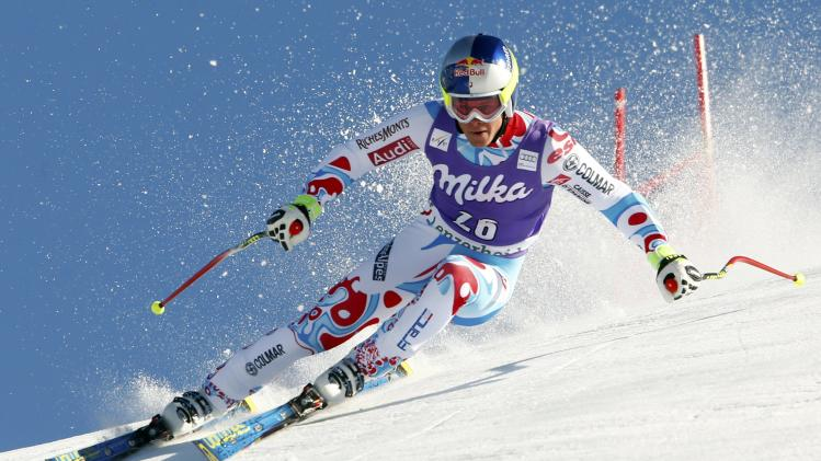 Pinturault of France speeds down in the men's Super G competition during the FIS Alpine Skiing World Cup finals in the Swiss ski resort of Lenzerheide