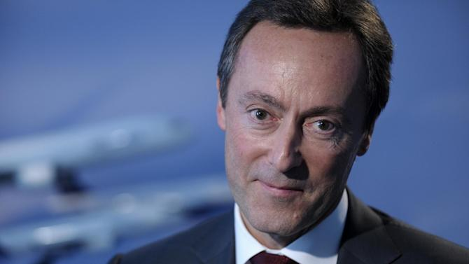 Fabrice Bregier, the CEO of Airbus, pauses during an interview with The Associated Press in Washington, Thursday, Oct. 24, 2013. (AP Photo/Susan Walsh)