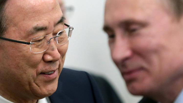 Russian President Vladimir Putin, right, and U.N. Secretary-General Ban Ki-moon meet in the Bocharov Ruchei residence in the Black Sea resort of Sochi, Russia, Friday, May 17, 2013. (AP Photo/Maxim Shipenkov, Pool)