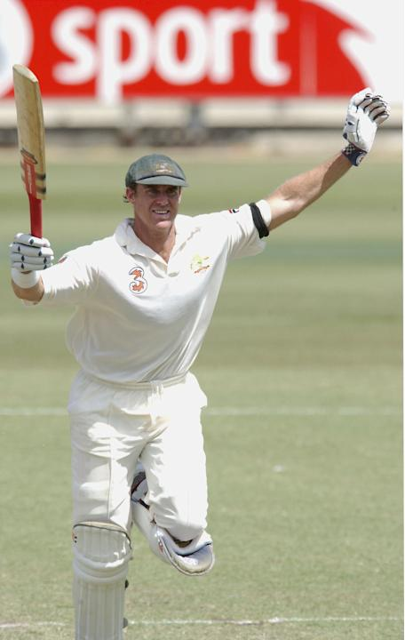 Matthew Hayden of Australia celebrates