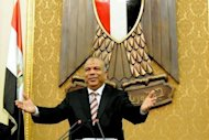 Egyptian Saad al-Kattatni, speaker of the parliament, attends with members the first session of the Egyptian parliament in Cairo. Egypt's Supreme Constitutional Court froze on Tuesday a decree presidential decree reinstating the Islamist-led parliament, hours after the lower house convened in defiance of the judiciary and military