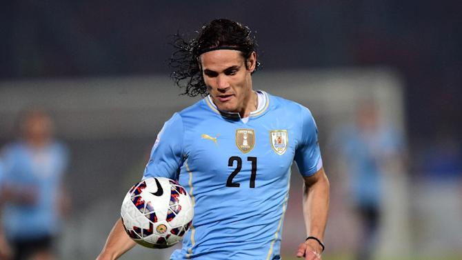Uruguay's forward Edinson Cavani, who plays for Paris Saint-Germain, was sent off midway through the second half of Uruguay's stormy 1-0 Copa America quarter-finaldefeat after he flicked a hand into Jara's face