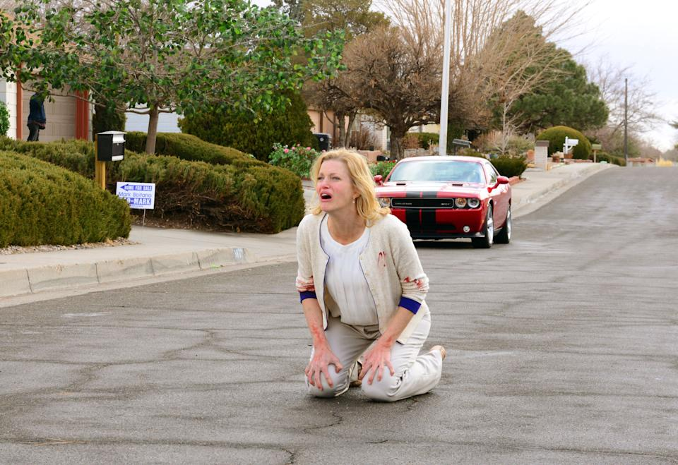 "This image released by AMC shows Skyler White, played by Anna Gunn, after her daughter Holly was abducted by her husband Walter White in a scene from the fifth season of ""Breaking Bad."" The series finale of the popular drama series airs on Sunday, Sept. 29. (AP Photo/AMC, Ursula Coyote)"