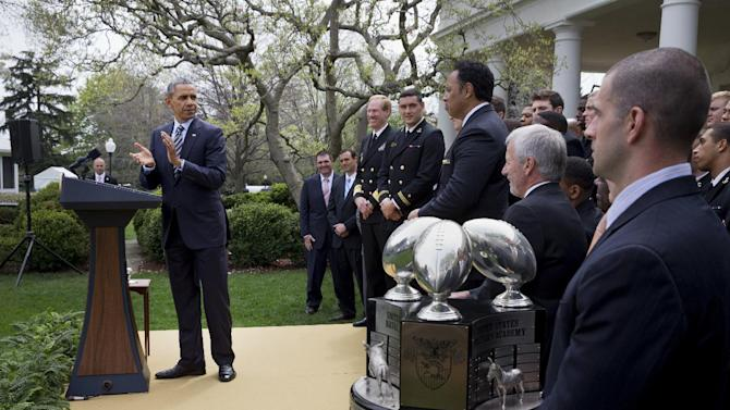 Obama presents Navy with football trophy, again