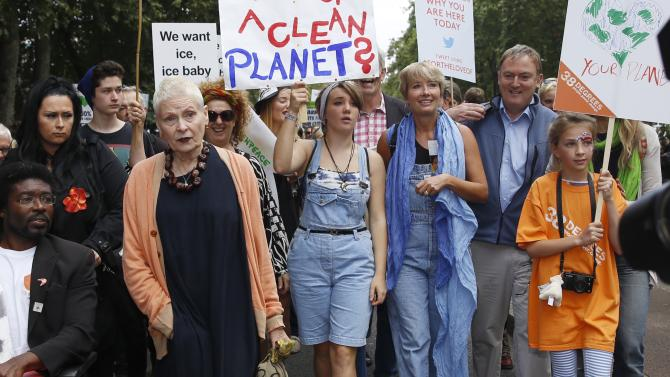 "Fashion Designer Vivienne Westwood, actress Emma Thompson and her daughter Gaia, participate in the ""People's Climate March"" in central London"
