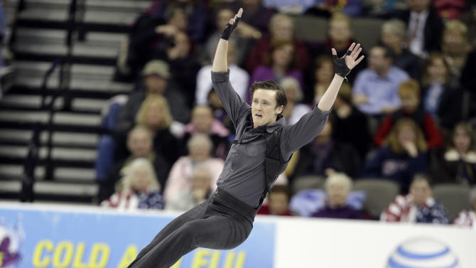 Jeremy Abbott competes during the senior men's short program at the U.S. figure skating championships, Friday, Jan. 25, 2013, in Omaha, Neb. (AP Photo/Charlie Neibergall)