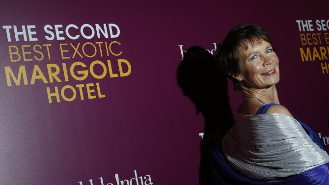 "Actress Celia Imrie arrives for the premiere of her movie ""The Second Best Exotic Marigold Hotel"" in the Manhattan borough of New York"