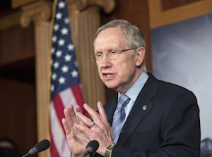 Senate Majority Leader Harry Reid, D-Nev., repeats …