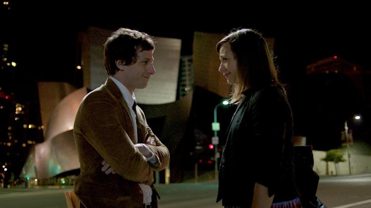 "This film image released by Sony Pictures Classics shows Andy Samberg as Jesse, left, and Rashida Jones as Celeste in a scene from ""Celeste & Jesse Forever."" (AP Photo/Sony Pictures Classics, David Lanzenberg)"