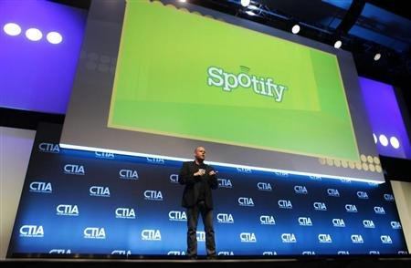 Daniel Ek, CEO &amp; Co-Founder of Spotify, addresses attendees during the International CTIA WIRELESS Conference &amp; Exposition in New Orleans, Louisiana May 9, 2012. REUTERS/Sean Gardner