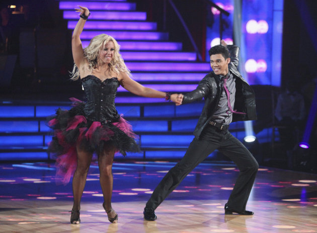 "Chelsie Hightower and Roshon Fegan perform on ""Dancing With the Stars."""
