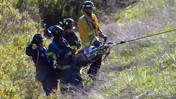 Two people rescued from car stuck in ravine