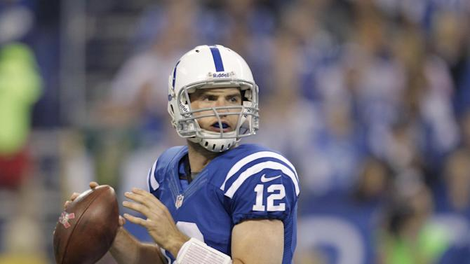 Indianapolis Colts quarterback Andrew Luck passes during the first half of an NFL football game against the Green Bay Packers in Indianapolis, Sunday, Oct. 7, 2012. (AP Photo/Michael Conroy)