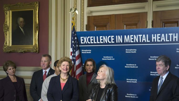 Actress Close and Senators' Stabenow and Blunt attend a news conference at the U.S. Capitol in Washington