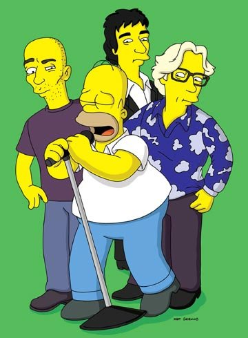 Homer (voiced by Dan Castellaneta) stands with R.E.M. in the episode 'Homer the Moe.'