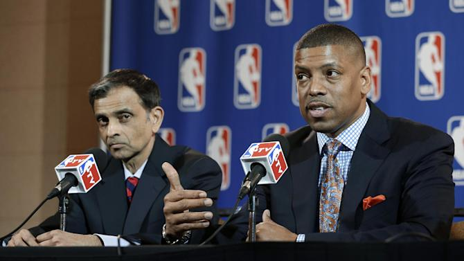 Sacramento, Calif., Mayor Kevin Johnson, right, and Vivek Ranadive, left, address reporters during a news conference following the NBA Board of Governors meeting Wednesday, May 15, 2013, in Dallas. NBA owners voted Wednesday to reject the Kings' proposed move to Seattle, the latest in a long line of cities that have tried to land the franchise. (AP Photo/Tony Gutierrez)