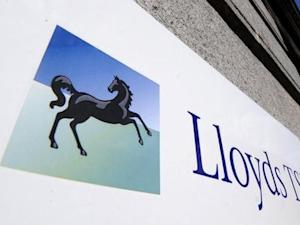 A Lloyds TSB sign is seen outside a branch in central London