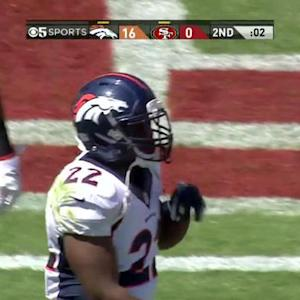 Denver Broncos running back C.J. Anderson up the middle for the 1-yard touchdown