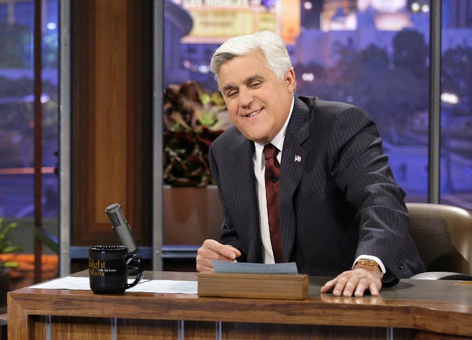 "This Nov. 5, 2012 photo released by NBC shows Jay Leno, host of ""The Tonight Show with Jay Leno,"" on the set in Burbank, Calif.  (AP Photo/NBC, Paul Drinkwater)"