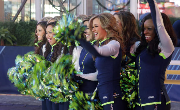 Gals cheerleaders cheer friday jan 31 2014 during a live broadcast