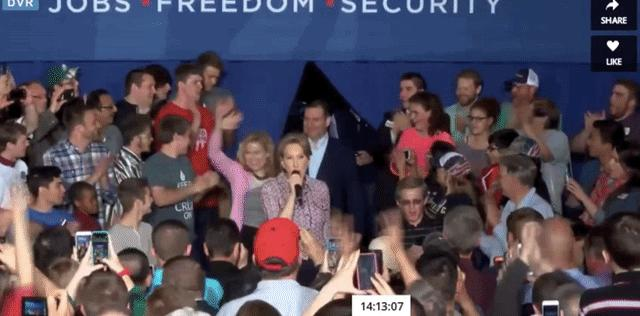 Carly Fiorina Falls Like a Stone at Ted Cruz Rally in Indiana