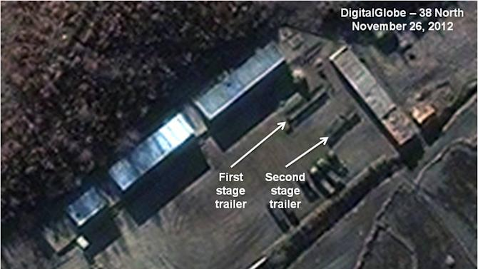 This Monday Nov. 26, 2012 satellite image provided by DigitalGlobe and annotated by the U.S.-Korea Institute at Johns Hopkins School of Advanced International Studies shows the Sohae Satellite Launch Station in Cholsan County, North Pyongan Province, North Korea. According to analysis by SAIS, North Korea has moved two sections of a long-range rocket at the site in preparation for a launch that would alarm both its adversaries and lone ally China. SAIS says recent activity at the Sohae site suggests it could be ready to blast-off a three-stage rocket by the end of the first week in December. (AP Photo/DigitalGlobe via SAIS)