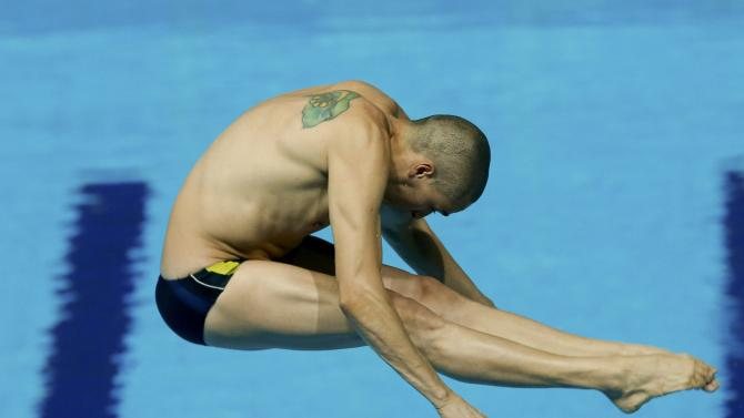 Castro of Brazil performs a jump during the men's 3m springboard semi-final at the Aquatics World Championships in Kazan