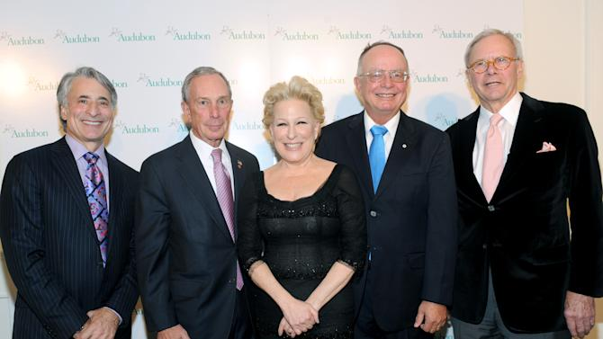 IMAGE DISTRIBUTED FOR THE NATIONAL AUDUBON SOCIETY - David Yarnold, left, President & CEO, The National Audubon Society, New York City Mayor Michael Bloomberg, second left, Bette Midler, center, honoree George Archibald and host Tom Brokaw attend The National Audubon Society's first gala to jointly award the Audubon Medal and the inaugural Dan W. Lufkin Prize for Environmental Leadership, Thursday, Jan. 17, 2013, in New York.  (Photo by Diane Bondareff/Invision for The National Audubon Society/AP Images)