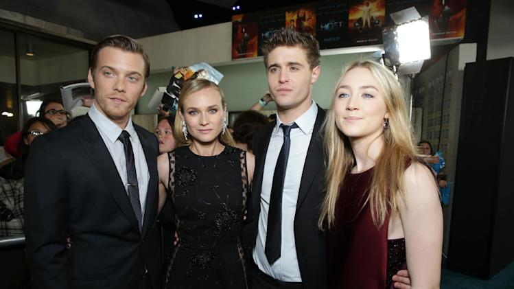 Jake Abel, Diane Kruger, Max Irons and Saoirse Ronan at Open Road Films Los Angeles Premiere of 'The Host' held at the ArcLight Hollywood, on Tuesday, March, 19, 2013 in Los Angeles. (Photo by Eric Charbonneau/Invision for Open Road Films/AP Images)