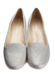 Silver sparkle Nine West smoking slippers