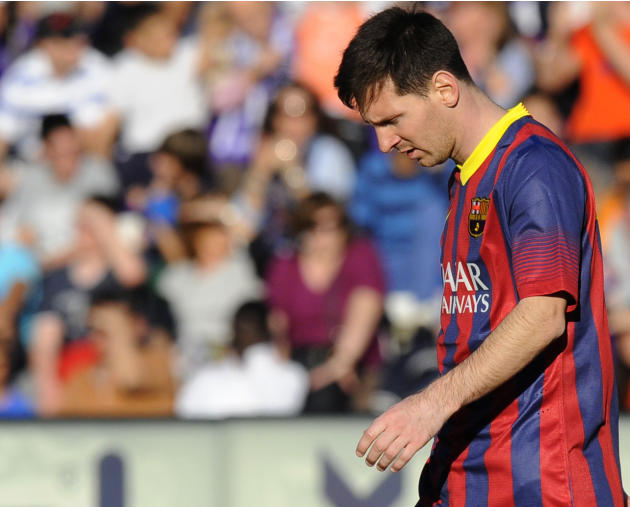 FC Barcelona's Lionel Messi from Argentina is seen during a Spanish La Liga soccer match against Real Valladolid at the Jose Zorrilla stadium in Valladolid, Spain on Saturday March 8, 2014