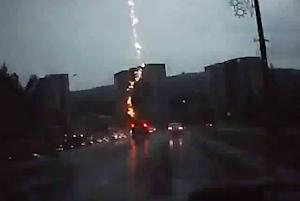 Dramatic Video Apparently Shows Lightning Striking an SUV
