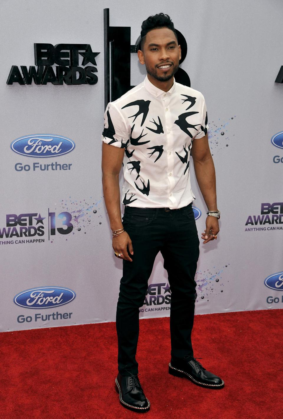 Miguel Jontel Pimentel arrives at the BET Awards at the Nokia Theatre on Sunday, June 30, 2013, in Los Angeles. (Photo by Chris Pizzello/Invision/AP)