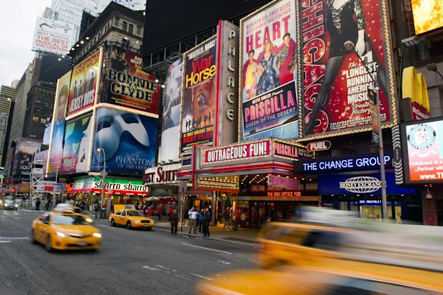 "FILE - This Jan. 19, 2012 file photo shows billboards advertising Broadway shows in Times Square, in New York. The TEDxBroadway conference will be held Monday, Jan. 28, 2013, at the off-Broadway complex New World Stages. The one-day event is bringing together more than a dozen producers, marketers, entrepreneurs, academics, economists and artists. All will try to answer the question: ""What is the best Broadway can be?"" (AP Photo/Charles Sykes, file)"