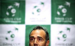 Team Spain's head coach Corretja attends a news conference before the Davis Cup tennis tournament in Vancouver