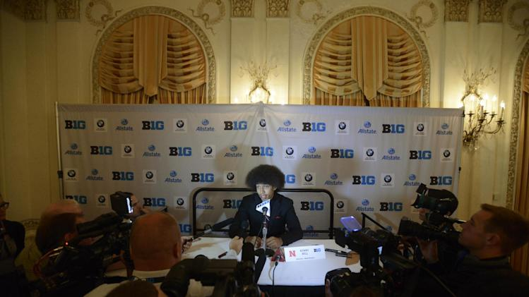 Nebraska wide receiver Kenny Bell talks to the media during the Big Ten Football Media Day in Chicago, Monday, July 28, 2014