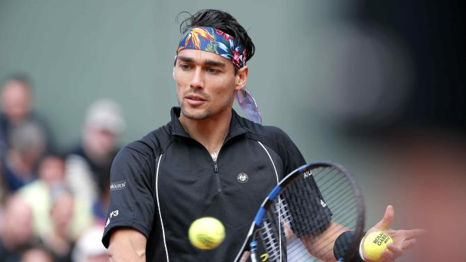 Fabio Fognini of Italy warms-up before the men's singles match against Japan's Tatsuma Ito at the French Open tennis tournament at the Roland Garros stadium in Paris