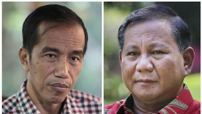 This combo photo shows Indonesian presidential candidate Joko Widodo, left, and Prabowo Subianto during separate exclusive interview with the Associated Press. After an ugly presidential election campaign, Indonesia is set to declare the winner on Tuesday - but that may not settle a simmering dispute between the two candidates, both of whom claim victory. (AP Photo)
