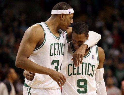 Forward Paul Pierce (L) scored 24 points for the Boston Celtics