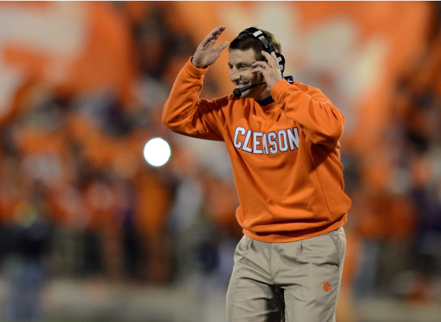 Clemson coach Dabo Swinney reacts during the first half of an NCAA college football game against South Carolina, Saturday, Nov. 24, 2012, at Memorial Stadium in Clemson, S.C. (AP Photo/Richard Shiro)