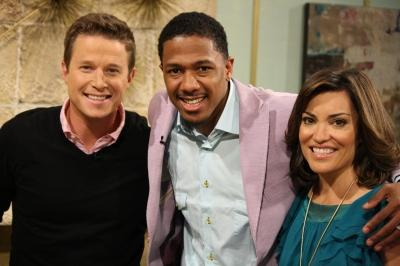 Nick Cannon smiles with Billy Bush and Kit Hoover on Access Hollywood Live on May 13, 2011 -- Access Hollywood