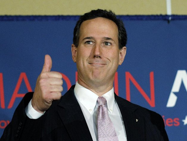 Republican presidential candidate, former Pennsylvania Sen. Rick Santorum gives a thumbs up during his election night party, Tuesday, March 13, 2012, in Lafayette, La. (AP Photo/Eric Gay)