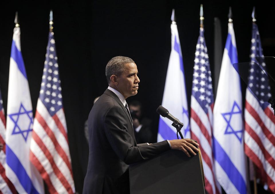 President Barack Obama pauses during his speech at the Jerusalem Convention Center in Jerusalem, Israel, Thursday, March 21, 2013, (AP Photo/Pablo Martinez Monsivais)