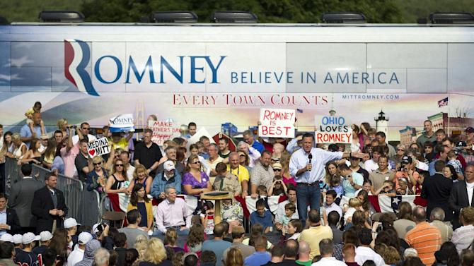 Republican presidential candidate, former Massachusetts Gov. Mitt Romney gestures during a campaign stop at Mapleside Farms Sunday, June 17, 2012, in Brunswick, Ohio.  (AP Photo/Evan Vucci)