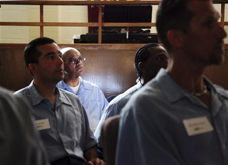 Inmates in the Last Mile program at San Quentin State Prison prepare to present their startup ideas in San Quentin, California February 22, 2013 . REUTERS/Gerry Shih