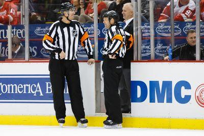 NHL referee comically forgets what the ruling is after a goal review