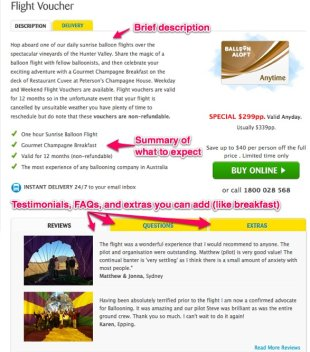 How To Make Your Tour or Activity Website Sticky image product description balloonaloft