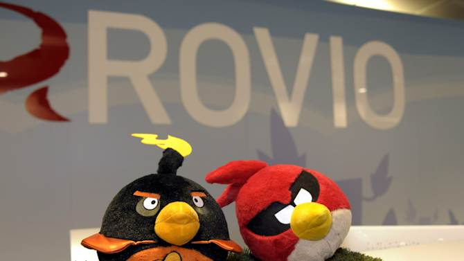 "FILE - A Sept. 20, 2012 photo from files showing Angry Birds figures at Rovio headquarters in Espoo, Finland. Angry Birds creator Rovio Entertainment acknowledged Wednesday, Jan. 29, 2014 that the popular game's home pages had been hacked, two days after reports that the personal data of its customers might have been accessed by U.S. and British spy agencies. The company said it is reviewing the use of advertising networks. Rovio spokeswoman Saara Bergstrom described the hacking a ""defacement"" without giving details. (AP Photo/Lehtikuva, Sari Gustafsson, File) FINLAND OUT"